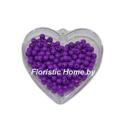 БУСИНКА, пластиковая круглая, d 0,6 см, 20 гр., темно-фиолетовый