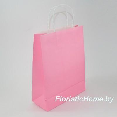 КРАФТ-ПАКЕТ Цветной с кручеными ручками, 25 см х 31 см х 11 см, розовый