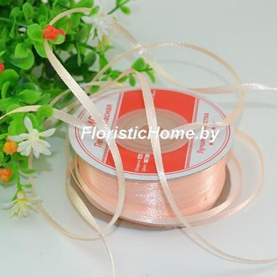 ЛЕНТА атласная, h 0,3 см х 1 м, пастельно-персиковый