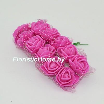 ИСКУССТВЕННЫЙ ЦВЕТОК Роза 12 шт. раскрытая с фатином, латекс, d 2,5 см, светло-пурпурный