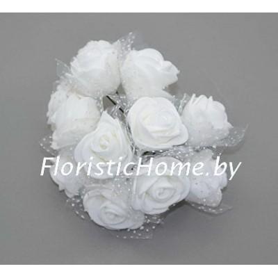 ИСКУССТВЕННЫЙ ЦВЕТОК Роза 12 шт. раскрытая с фатином, латекс, d 3,5 см, белый