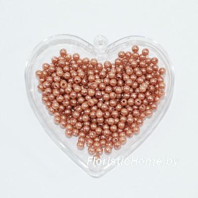 """БУСИНКА, """"под жемчуг"""" круглая, d 0,4 см, 20 гр., кофейно-розовый"""