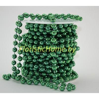 БУСИНА  НА НИТИ , круглая, d 0.8 cm  х  L 1 м, зеленый металлик,
