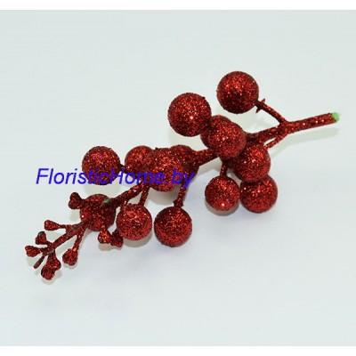 ВЕТКА Ветка с ягодами в глиттере, , L 13 см, красный