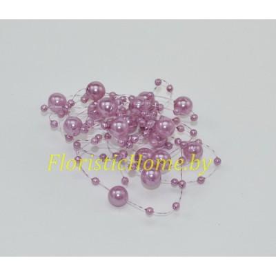 БУСИНКА, круглая на леске d 0.7 cм, L 1,3  м, , лиловый