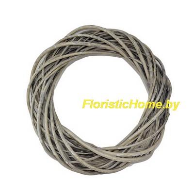 ВЕНОК Плетеный из лозы, d 35 см, серо-бурый