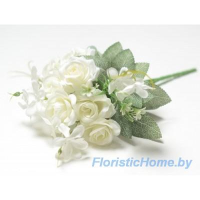 БУКЕТ ЦВЕТОВ Розы, h 29 см, молочный