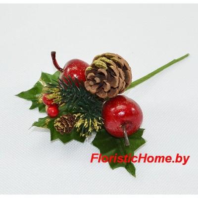 ВЕТКА Вставка №2 Новогодняя , Пластик, L 18 см, красный-золотой-зеленый