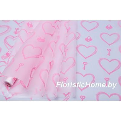 ПЛЕНКА в рулоне матовая Ключик к сердцу, h 70 см х 10 м, туманный розовый