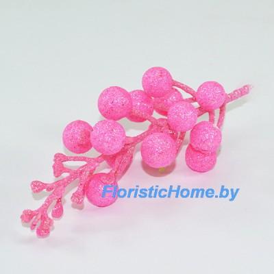 ВЕТКА Ветка с ягодами в глиттере, , L 13 см, неоновый розовый