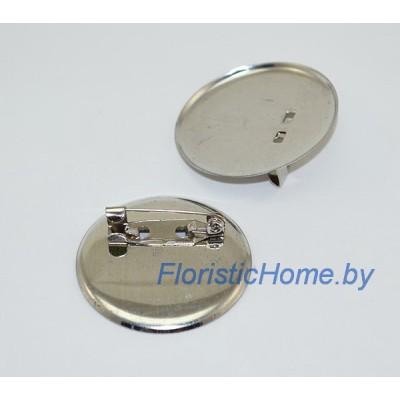 ЗАГОТОВКА ДЛЯ БРОШИ Значок + иголка, d 3 см, металл, под никель
