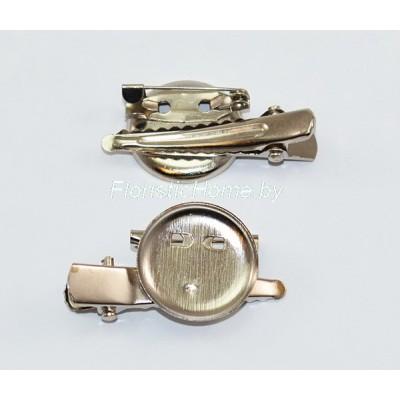ЗАГОТОВКА ДЛЯ БРОШИ Значок + заколка + иголка, d 2 см, металл, под никель