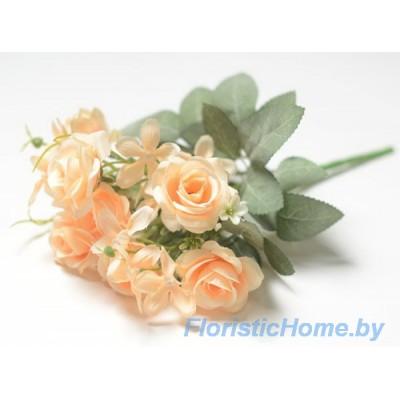 БУКЕТ ЦВЕТОВ Розы, h 29 см, песочно-персиковый