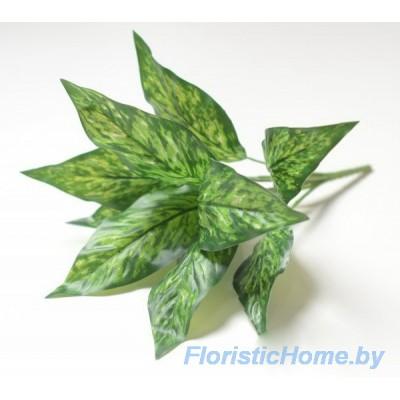 ВЕТКА Куст  диффенбахии, Пластик-ткань, L 35 см, темно-зеленый-ярко-зеленый