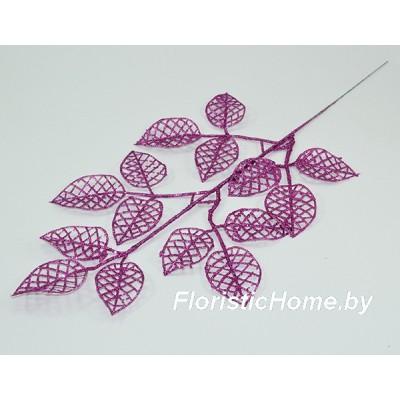 ВЕТКА Ветка яблони в глиттере, Пластик, L 46 см, пурпурно-фиолетовый