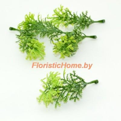 ВЕТКА Декоративная листва, Пластик, L 8 см, зеленый-салатовый