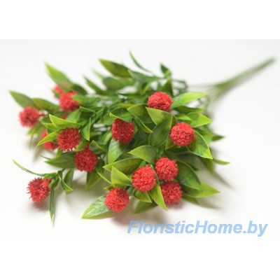 ВЕТКА Куст пушистый с шишками, Пластик, L 35 см, зеленый-красный