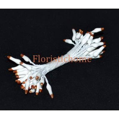 ТЫЧИНКИ На нити каплевидные 25 штук в пучке , 1-3 мм, белый-коричневый,