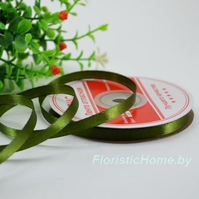 ЛЕНТА атласная, h 0,6 см х 1 м, зелено-болотный