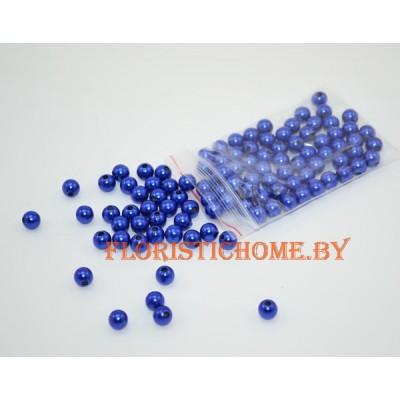 БУСИНКА, круглая, d 0,8 см, 20 гр., синий