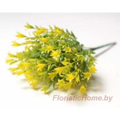 ВЕТКА Куст колокольчиков мелких, Пластик, L 31 см, зеленый-желтый
