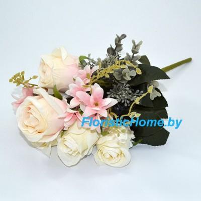 БУКЕТ ЦВЕТОВ Розы с эвкалиптом, h 48 см, кремовый-молочный-пудровый