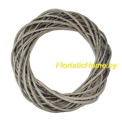 ВЕНОК Плетеный из лозы, d 40 см, серо-бурый