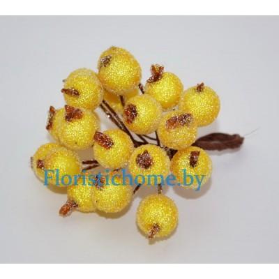 Клюква в сахаре на проволоке 20 ягод ., d 1,2 см, желтый