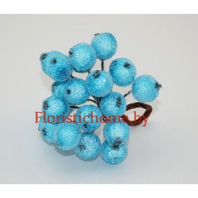 Клюква в сахаре на проволоке 20 ягод ., d 1,2 см, светло-бирюзовый