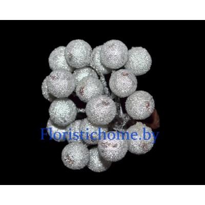 Клюква в сахаре на проволоке 20 ягод ., d 1,2 см, серебро