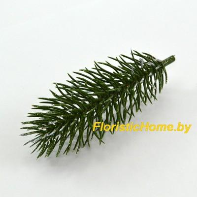 ВЕТКА Лапка елки одиночная с напылением, Пластик, L 9,5 -11,5 см., зеленый-серебро(перламутр)