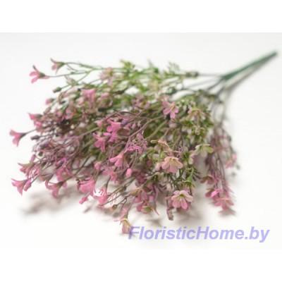 ВЕТКА Куст зелени с цветочками, Пластик, L 37 см, зеленый-пурпурный