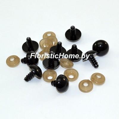 ГЛАЗКИ круглые винтовые 10 шт., d 1 см, черный