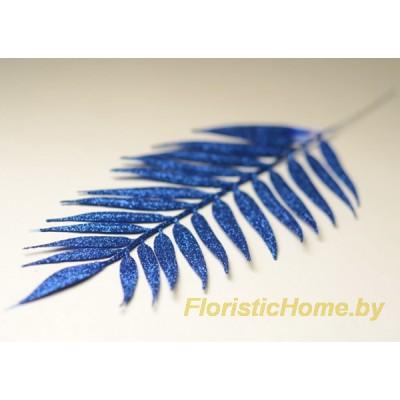 ВЕТКА Лист пальмы в глиттере, Пластик, L 40 см, синий