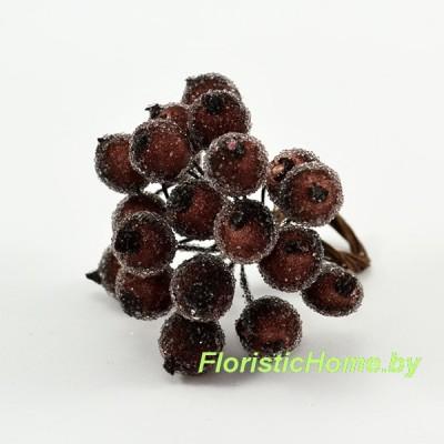 Клюква в сахаре на проволоке 20 ягод ., d 1,2 см, коричневый