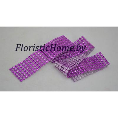 ЛЕНТА ДЕКОРАТИВНАЯ  со стразами, h 3 см х  1 м, светло-фиолетовый