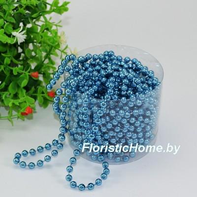 БУСИНА  НА НИТИ , круглая, d 0.6 cm  х  L 1 м, голубой металлик,