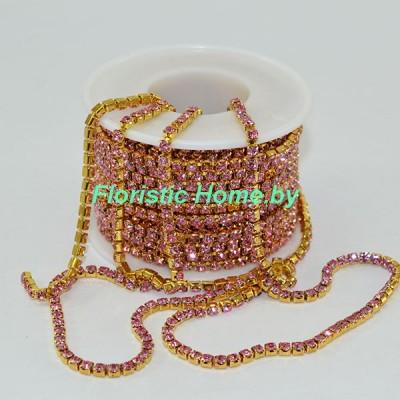 ЛЕНТА ДЕКОРАТИВНАЯ  цепь со стразами ( SS 12 ), (d 3,0 мм -3,2 мм) - 1 м, светло-розовый в золоте