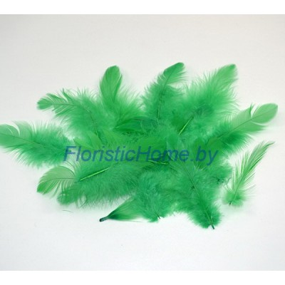 Перья пушистые в пакете 20 шт, L 3-13 см, , зеленый