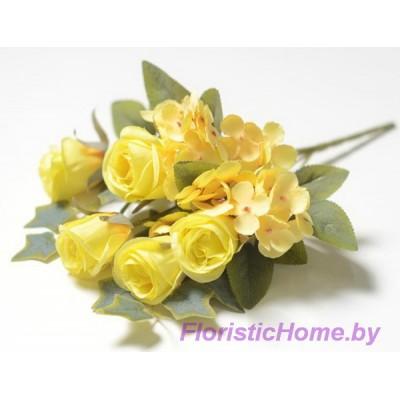 БУКЕТ ЦВЕТОВ Розы с гортензией, h 28 см, лимонный