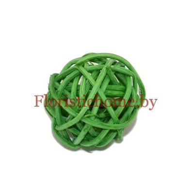 Ротанговый шар, d 3 см, зеленый