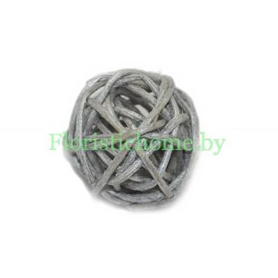 Ротанговый шар, d 3 см, серебро