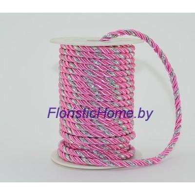 ЛЕНТА Шнур витой двухпрядный, d 5,5 мм х L 1 м, розовый-серебро