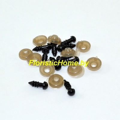 ГЛАЗКИ круглые винтовые 10 шт., d 0,5 см, черный