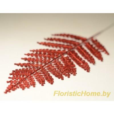 ВЕТКА Лист петрушки в глиттере, Пластик, L 45 см, красный
