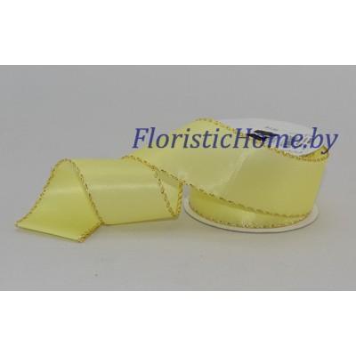 ЛЕНТА атласная с каймой, h 3,8 см х 1 м, светло-желтый