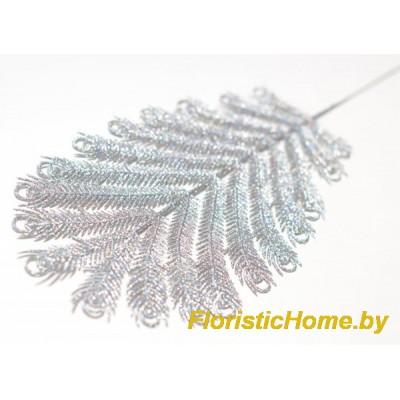 ВЕТКА Перышко павлина в глиттере, Пластик, L 36 см, серебристый перламутр