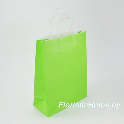 КРАФТ-ПАКЕТ Цветной с кручеными ручками, 21 см х 27 см х 11 см, салатовый