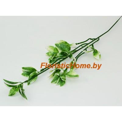 ВЕТКА Листва каплевидная пушистая, Пластик, h 42 см, зеленый-белый