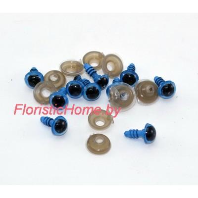 ГЛАЗКИ круглые винтовые с круглым зрачком 10 шт., d 0,8 см, темно-голубой